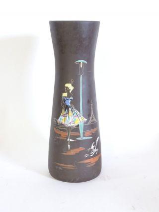 Mid Century 50er Jahre Keramik Vase Paris Tanzendes Mädchen Katze Eifelturm Bild