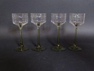 4 Antike Jugendstil Weißwein Gläser Weingläser Glas Mit Grünem Stil Bild