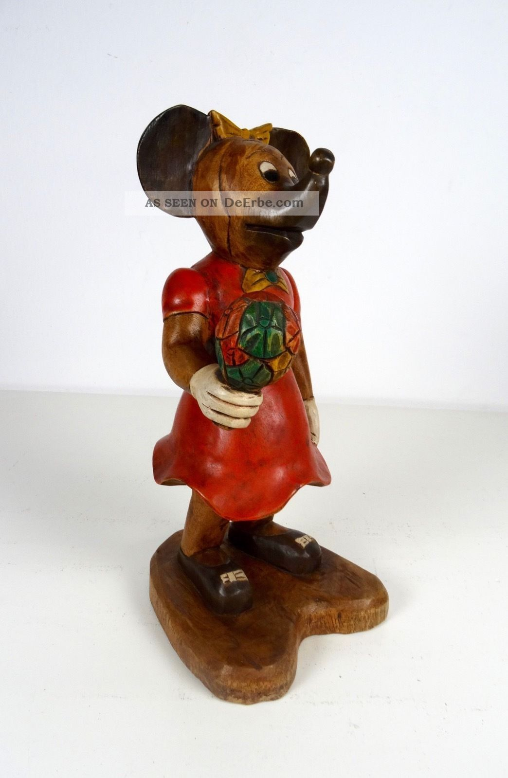 Große Vintage 60er Minni Mickey Mouse Maus Hangeschnitze Holzskulptur Disney 1960-1969 Bild