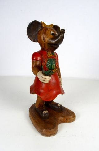 Große Vintage 60er Minni Mickey Mouse Maus Hangeschnitze Holzskulptur Disney Bild