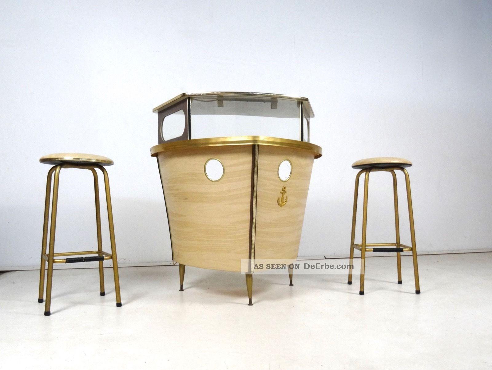 Seltene 60er Schiff Bar BarmÖbel Schif Form Vintage Formica Glas 1960-1969 Bild