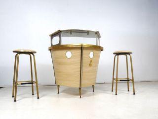 Seltene 60er Schiff Bar BarmÖbel Schif Form Vintage Formica Glas Bild