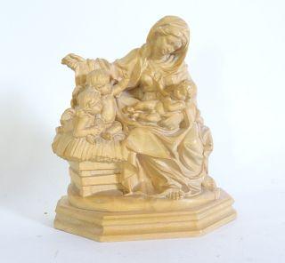Lang Oberammergau Religiöse Holzschnitzerei Maria Mit Kind Engel Holz Bild
