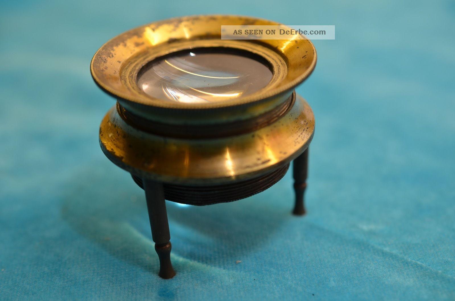 Alte Seltene Antike Lupe Standlupe Messing/kupfer Um 1900/1920 Optiker Bild