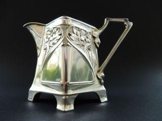 800 Silber Jugendstil Wilhelm Binder Milch KÄnnchen Floral Art Nouveau Jug Milk Bild
