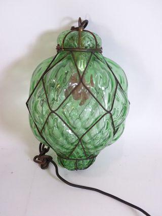 Murano Traubenlampe Mundgeblasen Deckenlampe Hängelampe Grün Rarität Bild