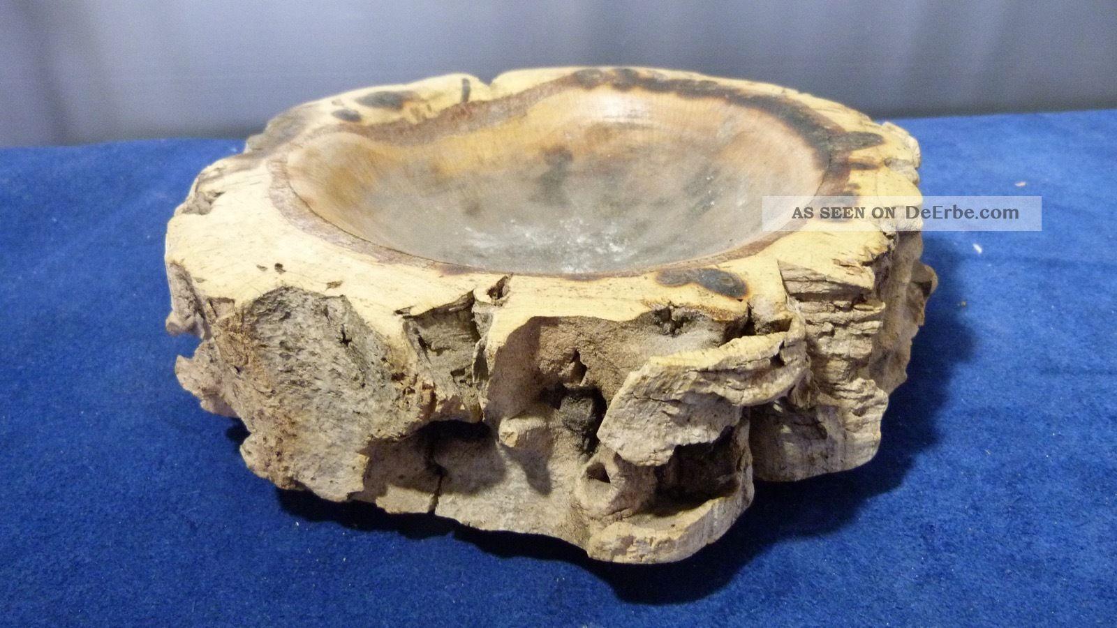 Großer Aschenbecher - Korg Eiche - Durchm.  Ca.  24,  0 Cm - 875 Gr.  - Ca 60er Jahre Holzarbeiten Bild