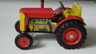 Blechspielzeug - Traktor Rot Von Kovap Komplett Mit Schlüssel Fahrbar Top Bild