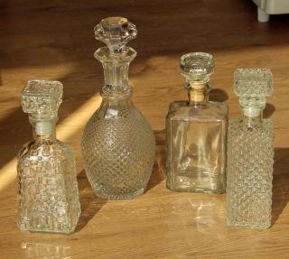 4 X Tolle Vintage Kristall Flaschen - - Geschliffene Whiskeyflasche Cognac Vodka Bild