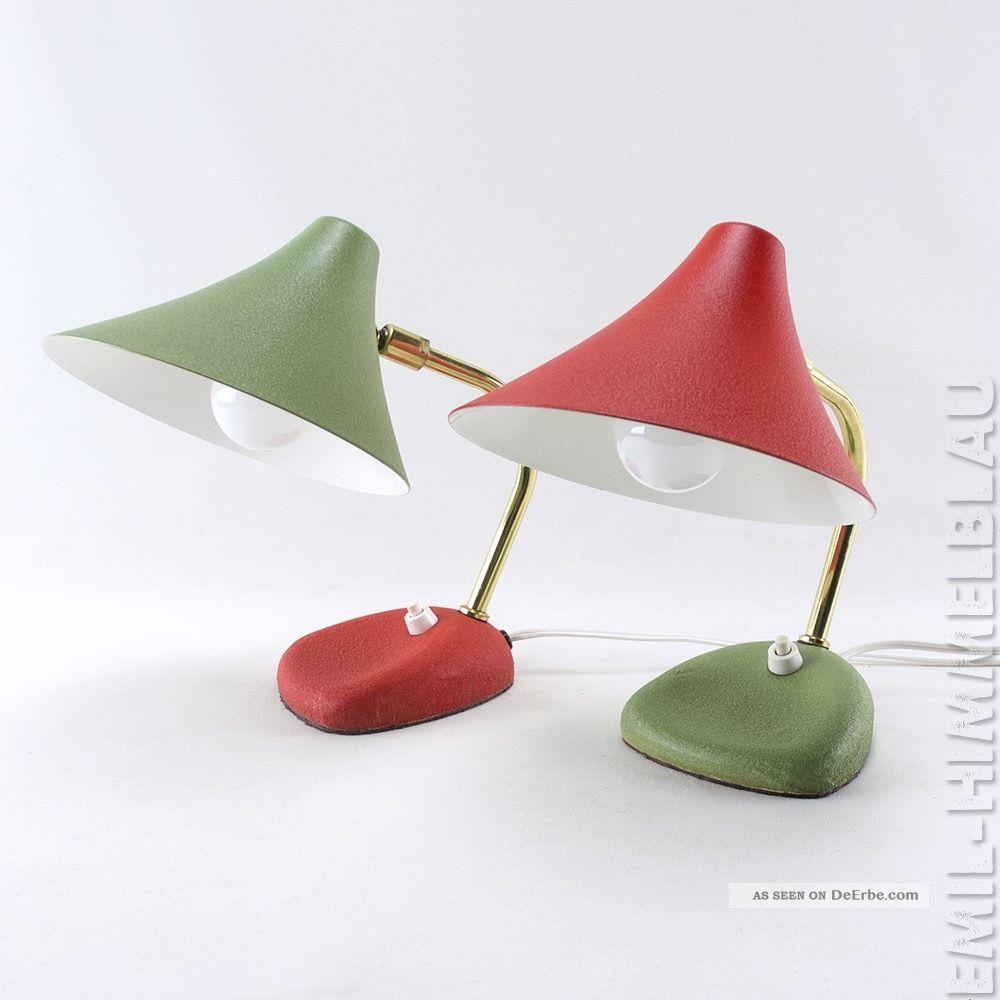 Altes paar tischlampen 50s lampe rot gr n 50er vintage for Lampen 50er design