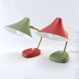 Altes Paar Tischlampen 50s Lampe Rot GrÜn 50er Vintage Leuchte Desk Lamp Bild