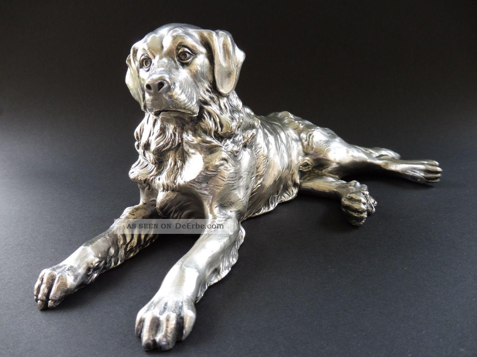 : Jugendstil Hund Dog Art Nouveau Bernhardiner Retriever Versilbert Figur 7c Wmf 1890-1919, Jugendstil Bild