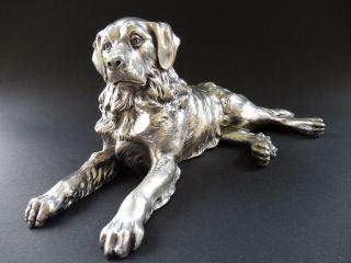 : Jugendstil Hund Dog Art Nouveau Bernhardiner Retriever Versilbert Figur 7c Wmf Bild