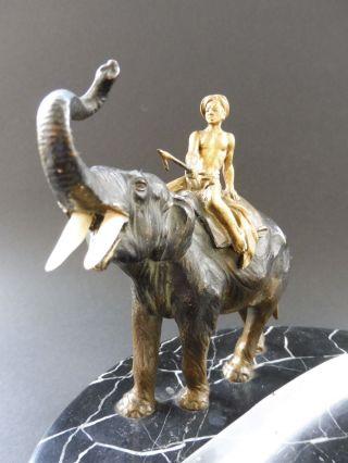 : Wiener Jugendstil Bronze Elefant Elephant Gold Mahout Art Nouveau Bowl Marmor Bild