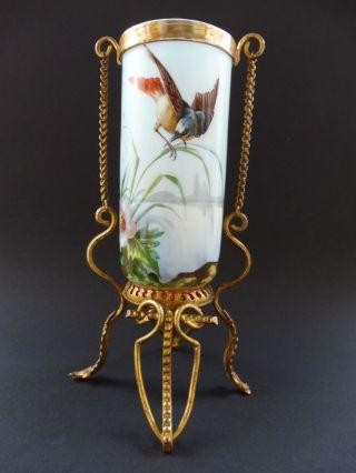 Jugendstil Vase Vergoldet Montierung Vogel Emailmalerei Art Nouveau Bird 3gg Wmf Bild