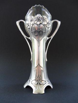 Wmf Jugendstil Vase Floral Art Nouveau Versilbert Kristall Glas Vegetabil No.  1 Bild