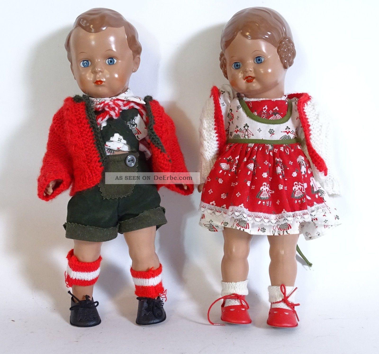 Paar Schildkröt Puppen Hans Und Bärbel Inkl.  Kleidung Celluloid Puppen Schildkröt Bild