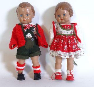 Paar Schildkröt Puppen Hans Und Bärbel Inkl.  Kleidung Celluloid Puppen Bild