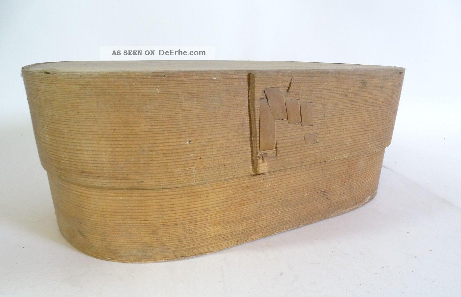 Riesige Ovale Span Schachtel Aufbewahrungsbox Um 1910 Shabby Chic Antik Holzarbeiten Bild