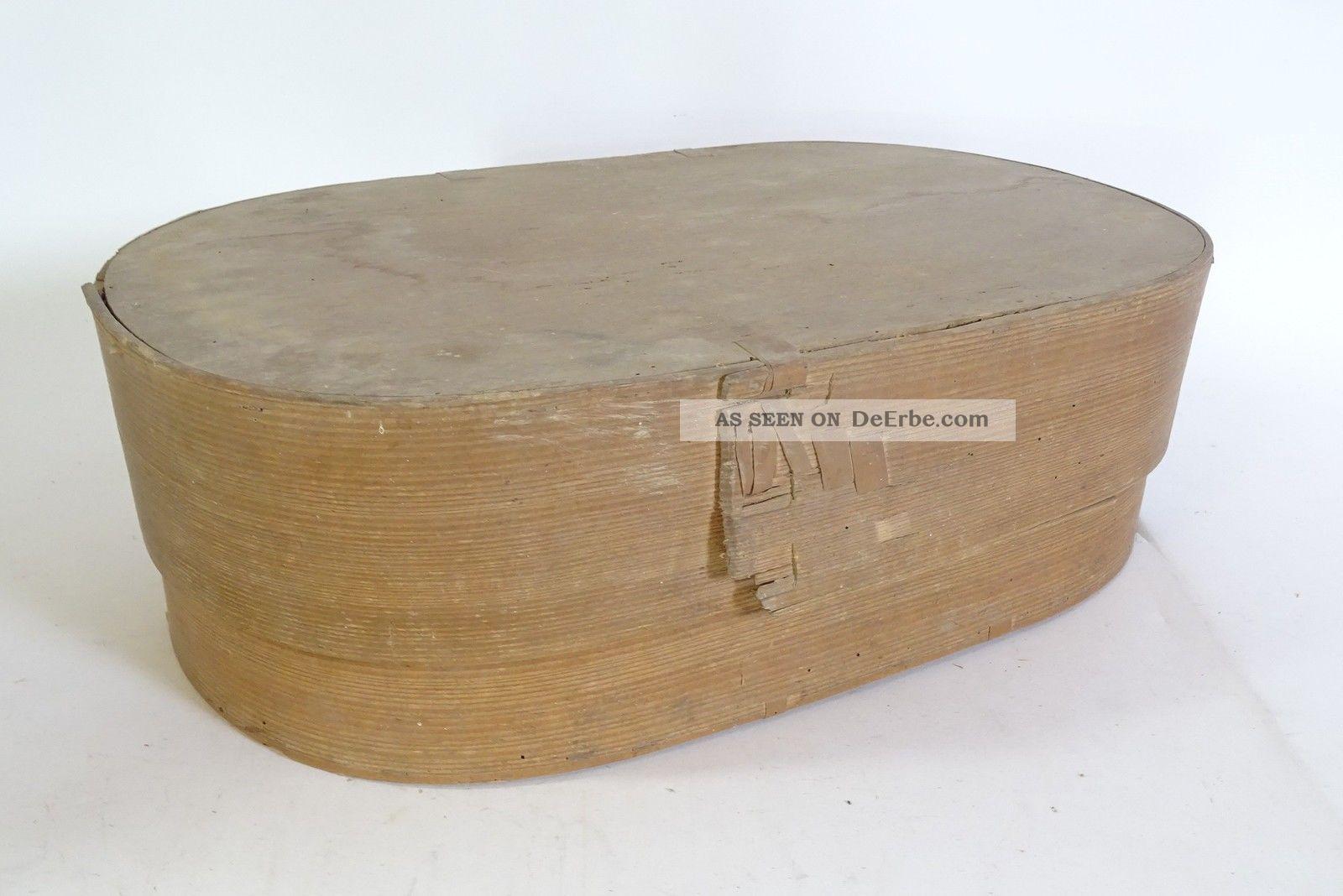 Antike Große Ovale Span Schachtel Aufbewahrungs Box Spanschachtel Um 1910 Holzarbeiten Bild