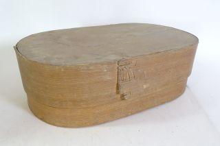 Antike Große Ovale Span Schachtel Aufbewahrungs Box Spanschachtel Um 1910 Bild