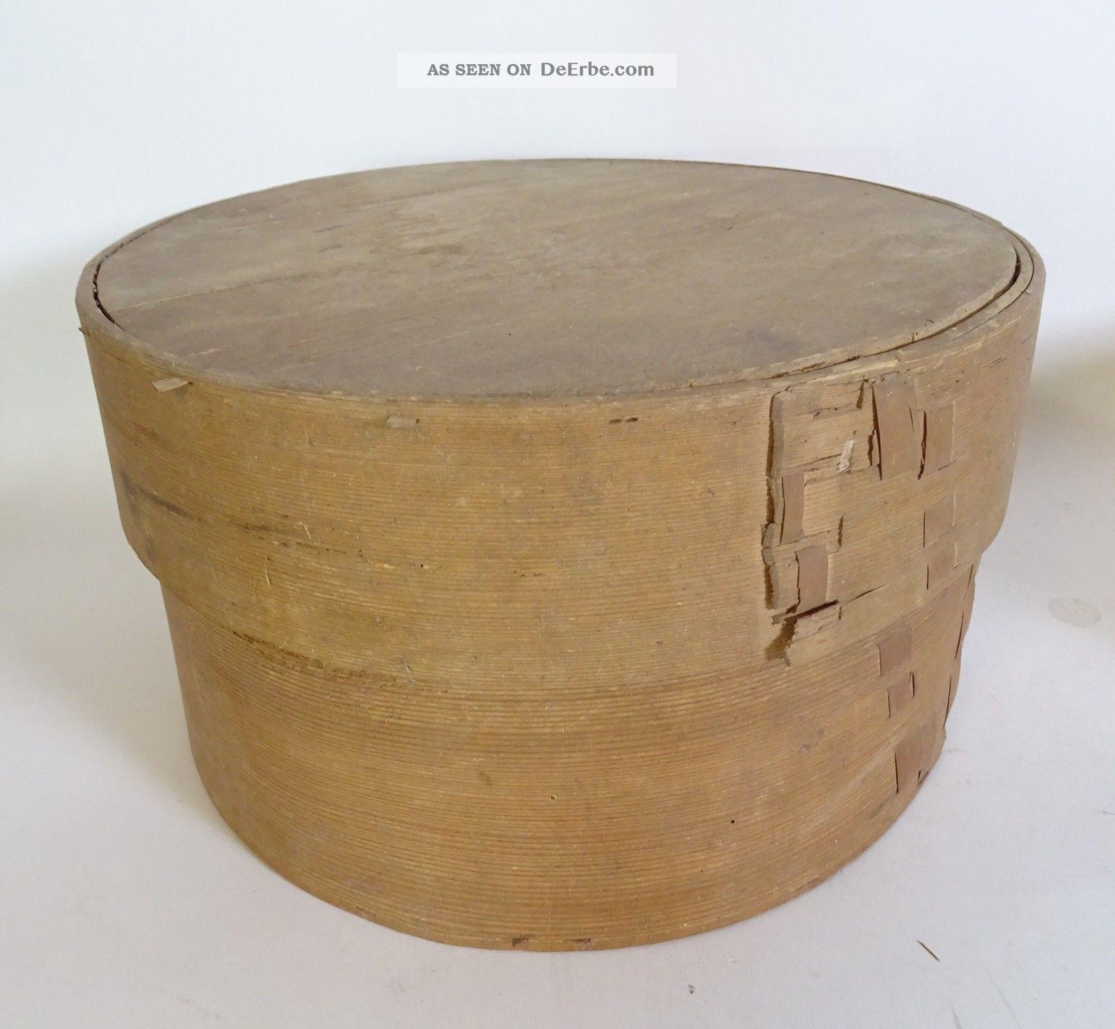 Antike Riesige Span Schachtel Aufbewahrungs Box Spanschachtel Um 1910 Holzarbeiten Bild