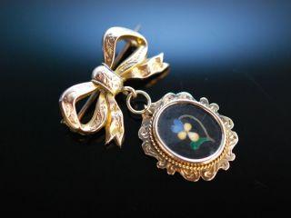 Lovely Ribbon Antike Schleifen Brosche Gold 375 Pietra Dura England Um 1880 Bild
