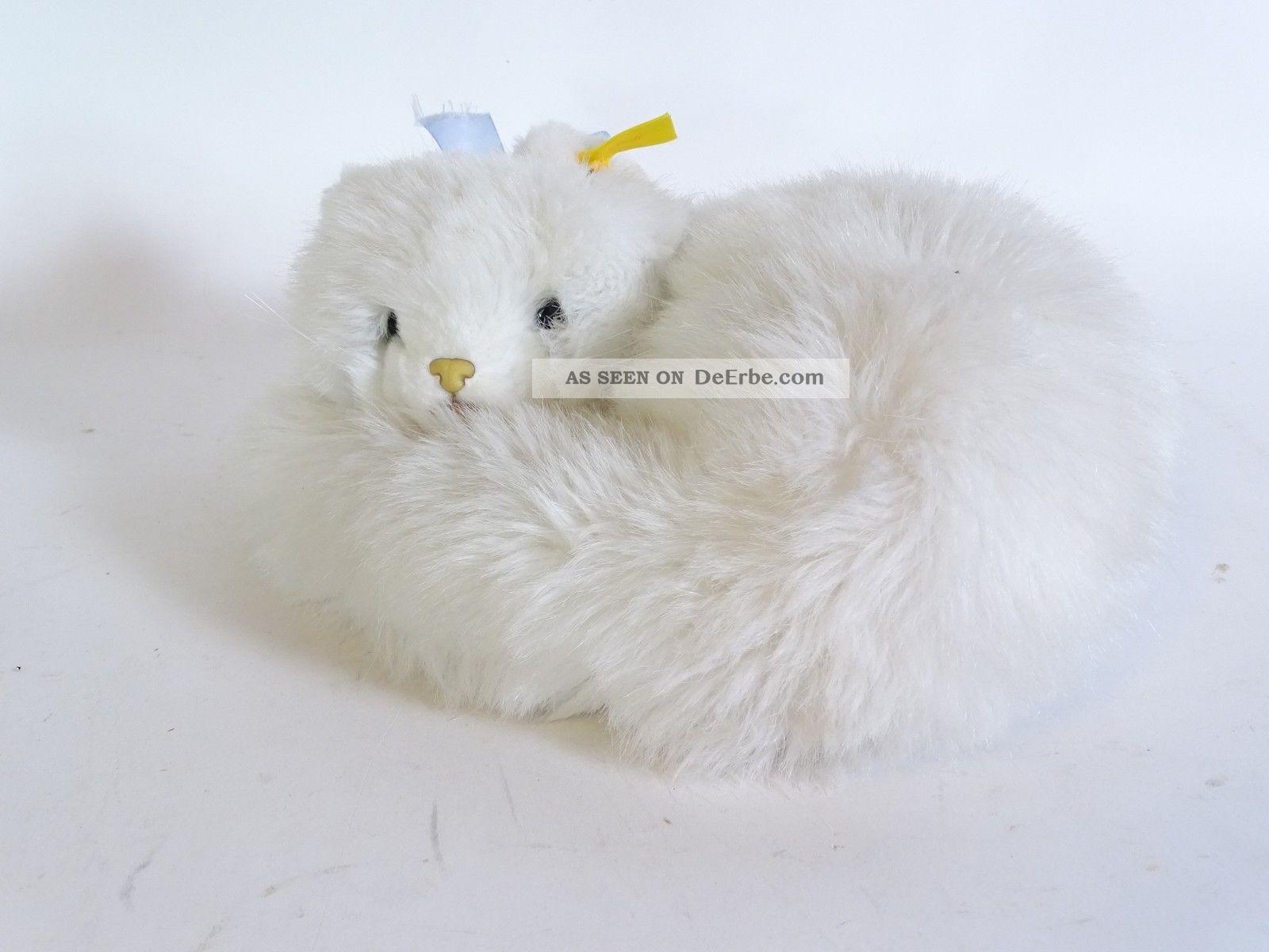 Steiff Katze Liegend Weisses Fell Mit Knopf Und Fahne Tiere Bild
