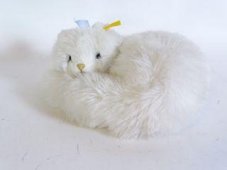 Steiff Katze Liegend Weisses Fell Mit Knopf Und Fahne Bild
