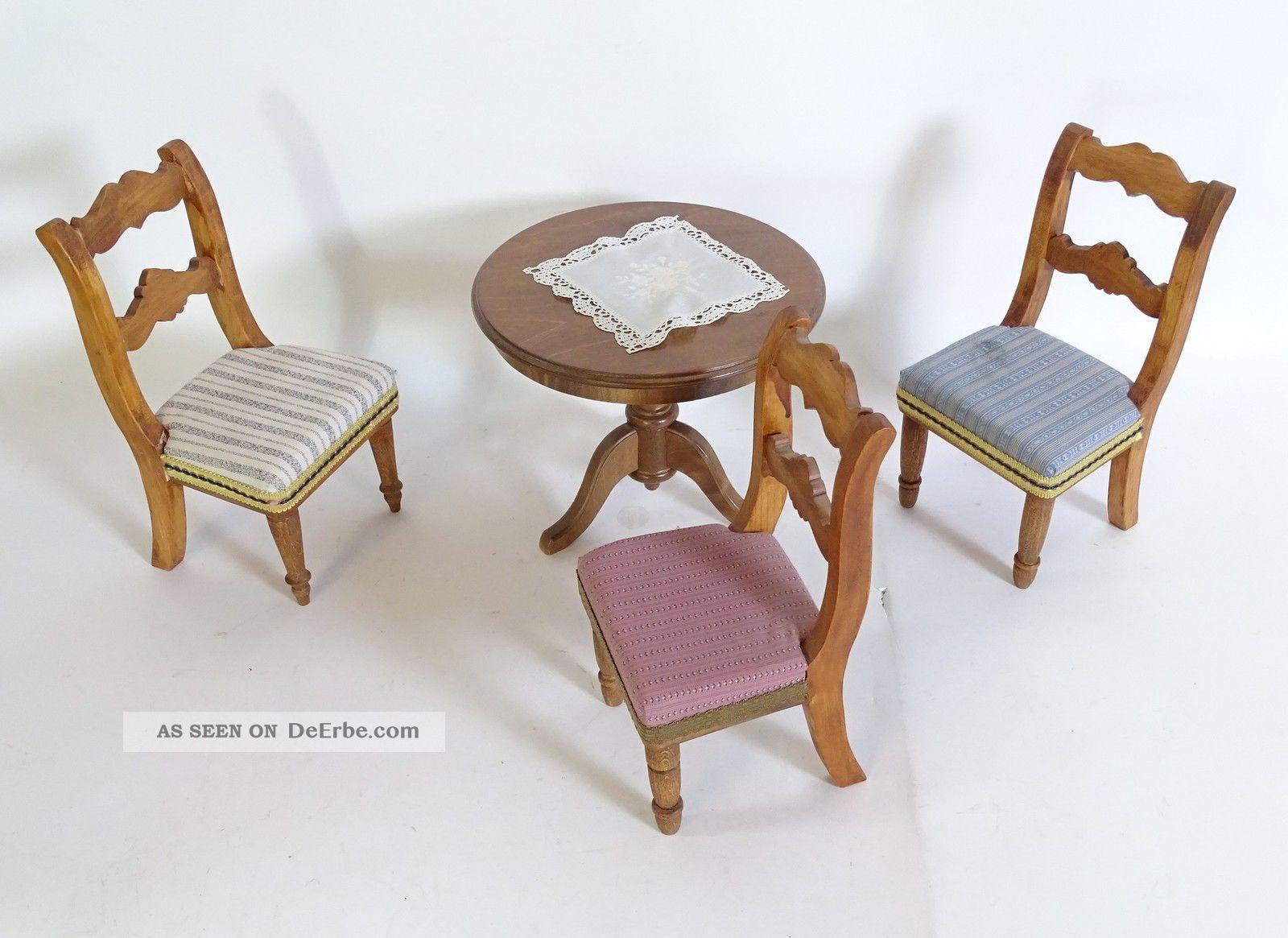 Bodo Hennig Puppenmöbel Wohnzimmertisch 3 Stühle Accessoires Möbel Nostalgieware, nach 1970 Bild