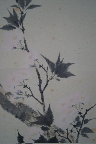 Antikes Japanisches Rollbild Kakejiku Blumen Japan Scroll 3444 Bild