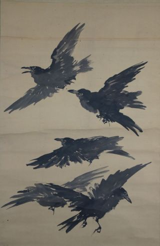 Antikes Japanisches Rollbild Kakejiku Krähen Japan Scroll 3576 Bild