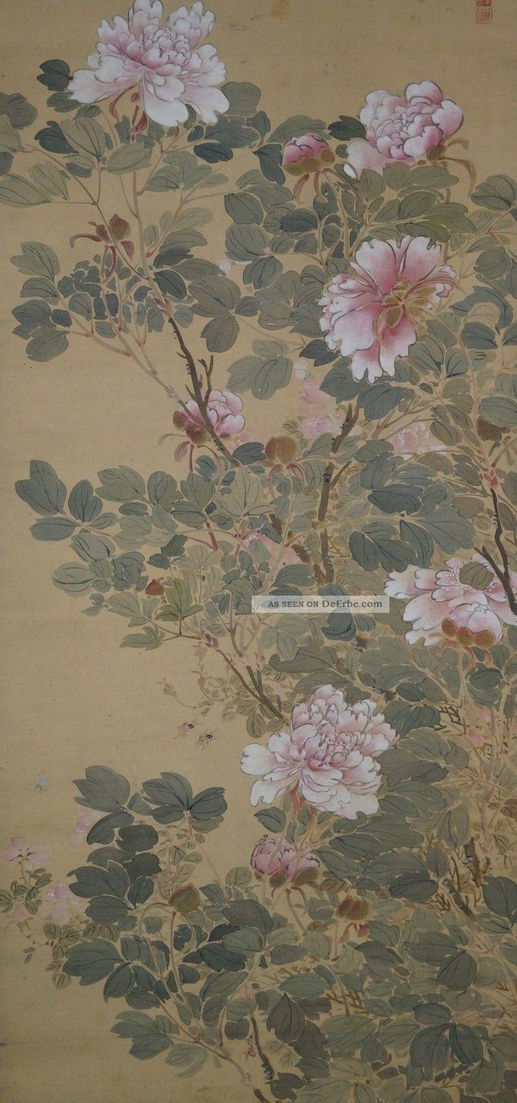 Antikes Japanisches Rollbild Kakejiku Pfingstrosen Japan Scroll 3540 Asiatika: Japan Bild