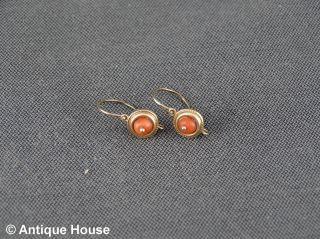 Gold 585 ältere Ohrringe Mit Koralle Kinderschmuck Bild