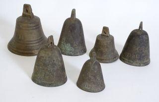 Konvolut 6x Antike Glocken