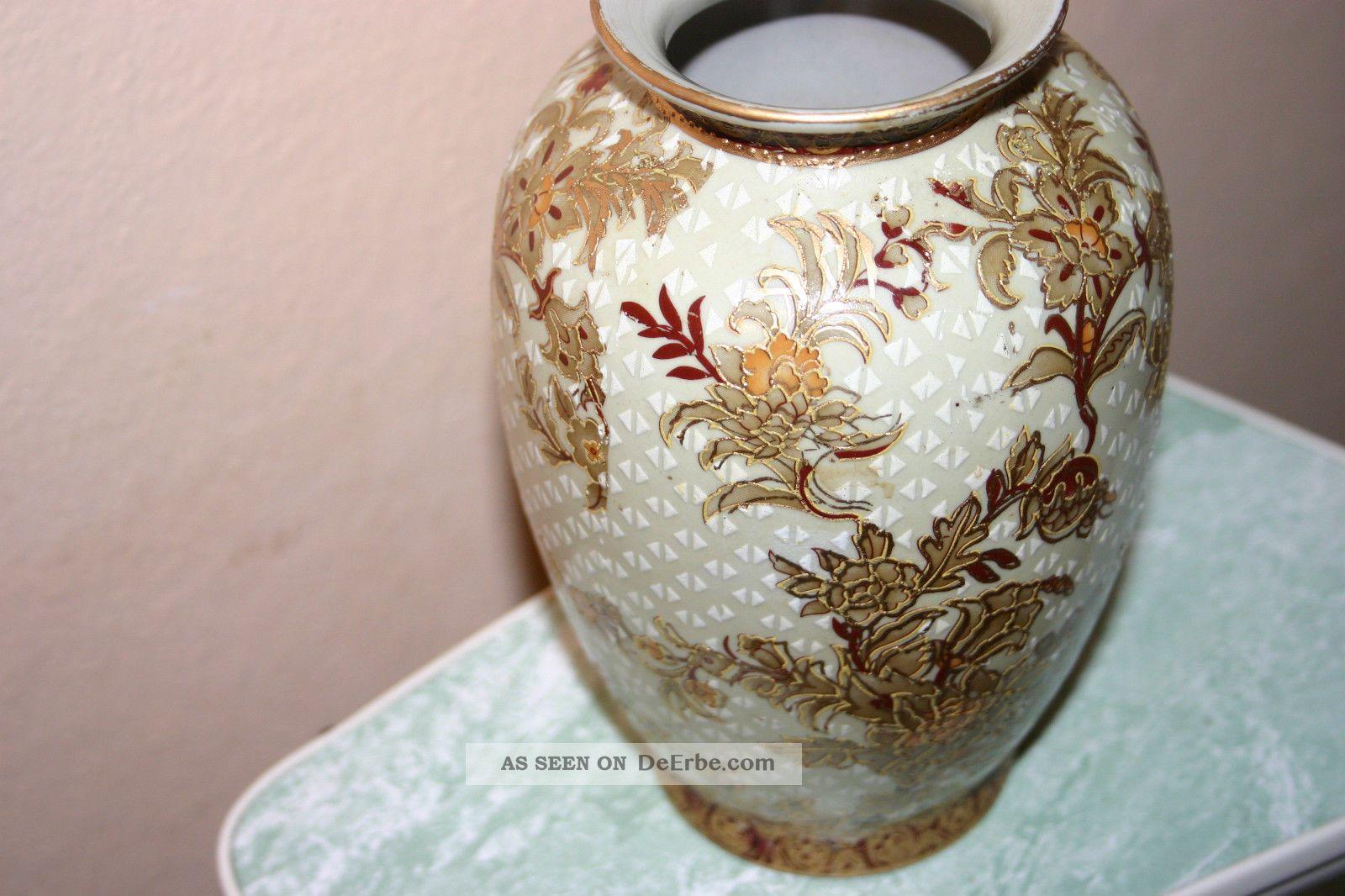 Vase Signiert - Blüten Goldverzierung China - 20,  5 Cm Hoch Asiatika: China Bild