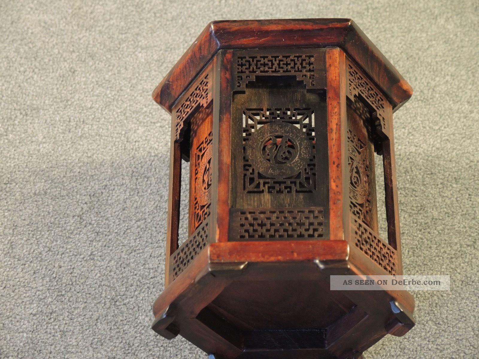 China: Teelicht - / Kerzenständer 6 - Eckig Holz Sehr Schön Im Pagodenstil Entstehungszeit nach 1945 Bild
