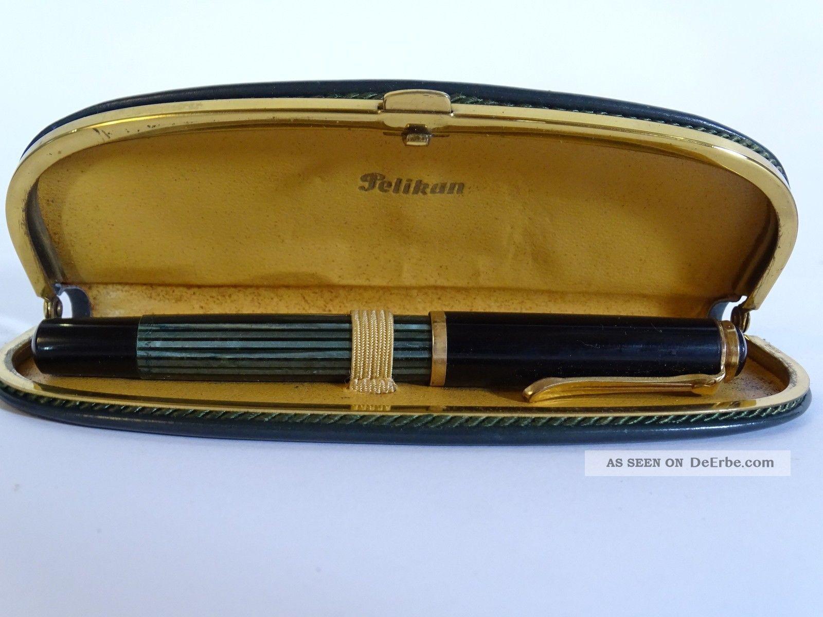 Antiker Pelikan Füller Füllfederhalter 585 Gold Feder Im Etui Antike Bürotechnik Bild