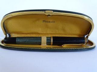Antiker Pelikan Füller Füllfederhalter 585 Gold Feder Im Etui Bild
