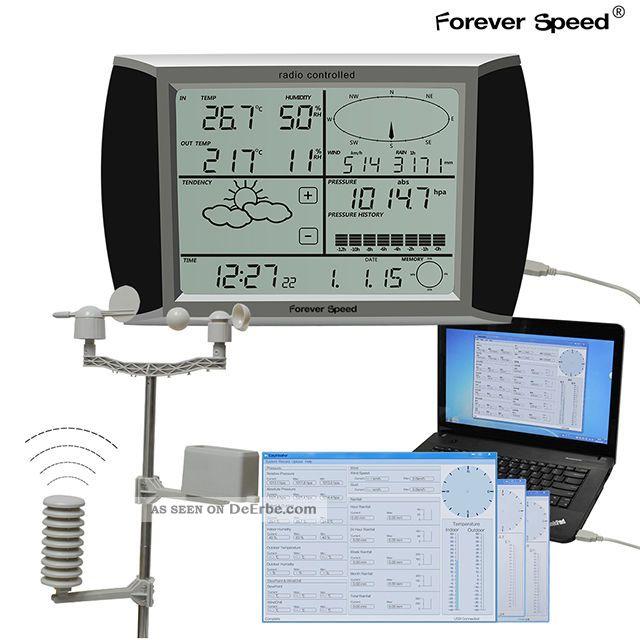 Wh1080 Usb Touchscreen Funk Wetterstation Barometer Regen Profi Wetter Center Wettergeräte Bild
