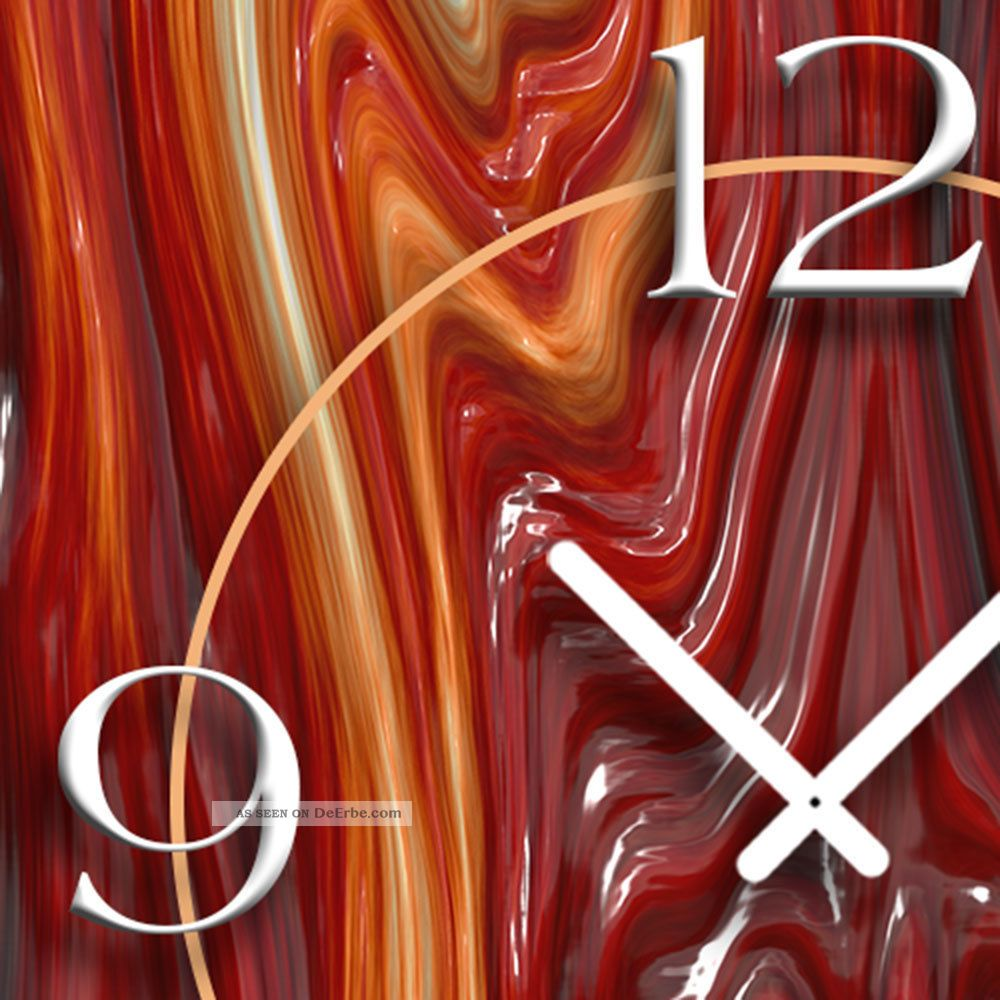 geschmolzenes glas rot designer wanduhr modernes wanduhren design leise kein tic. Black Bedroom Furniture Sets. Home Design Ideas