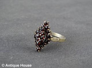 Schmuck Schmuckstück Silber 900 älterer Ring Mit Granat Granatschmuck Vergoldet Bild