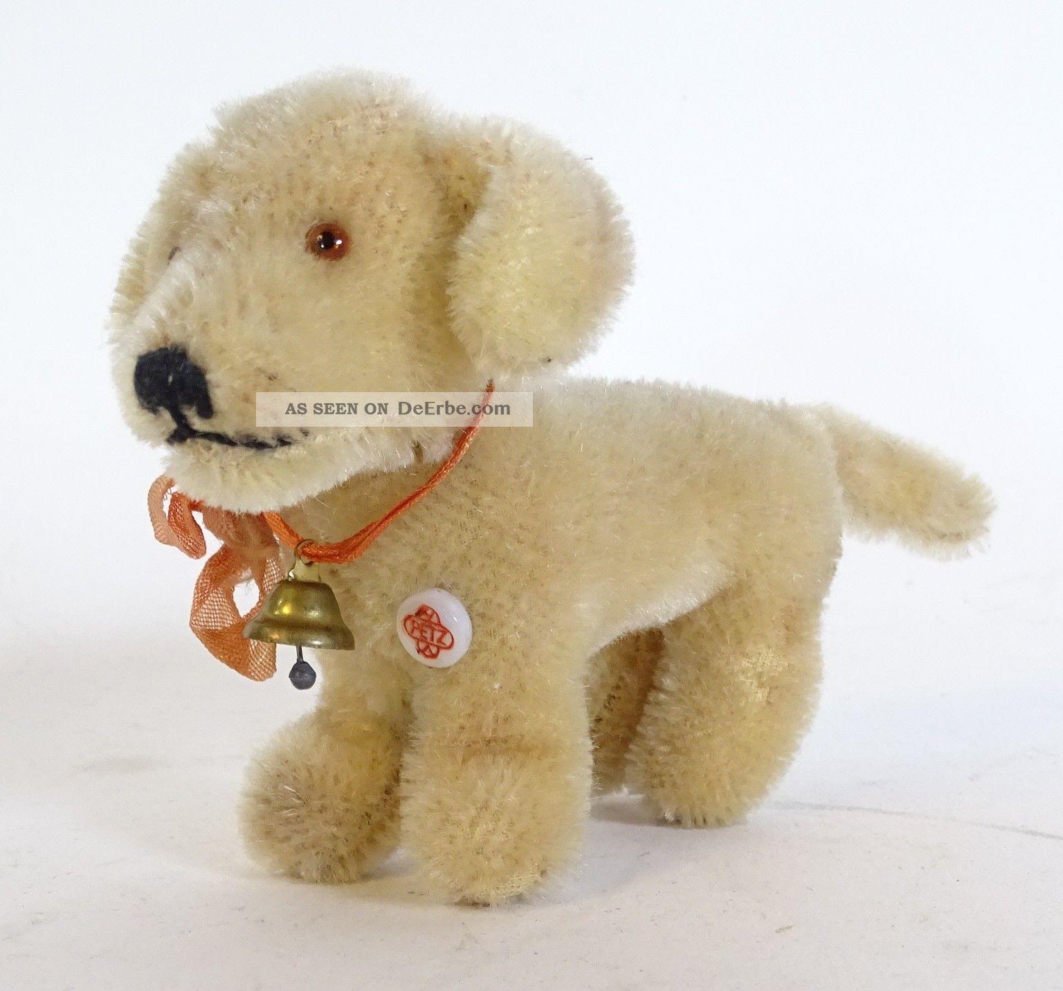 Seltener Antiker Mohair Petz Dackel Hund Hart Gestopft Mit Glöckchen Stofftiere & Teddybären Bild