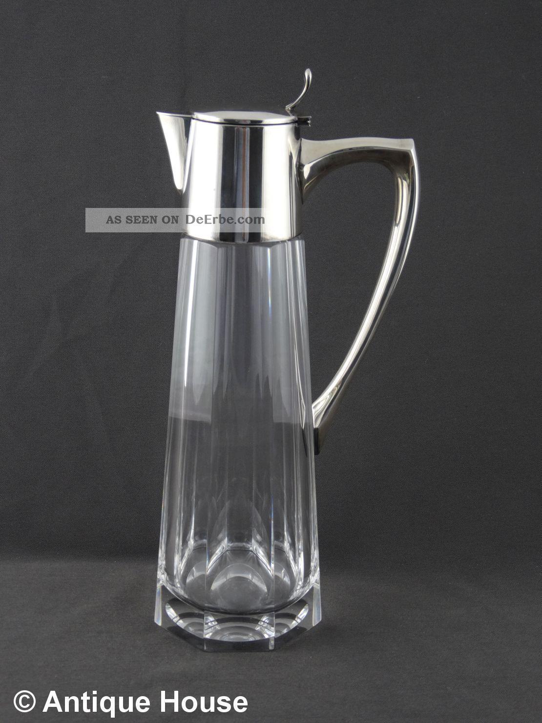 Kristallkaraffe Krug Mit Silbermontierung Silber 925 - Gebr.  Deyhle Jugendstil D Kristall Bild