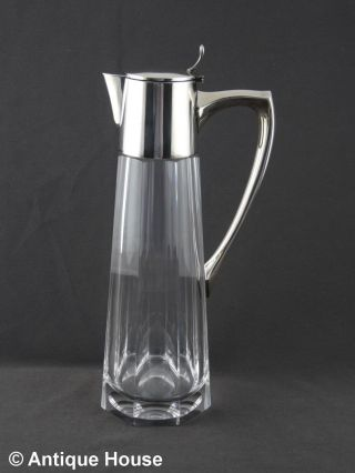 Kristallkaraffe Krug Mit Silbermontierung Silber 925 - Gebr.  Deyhle Jugendstil D Bild