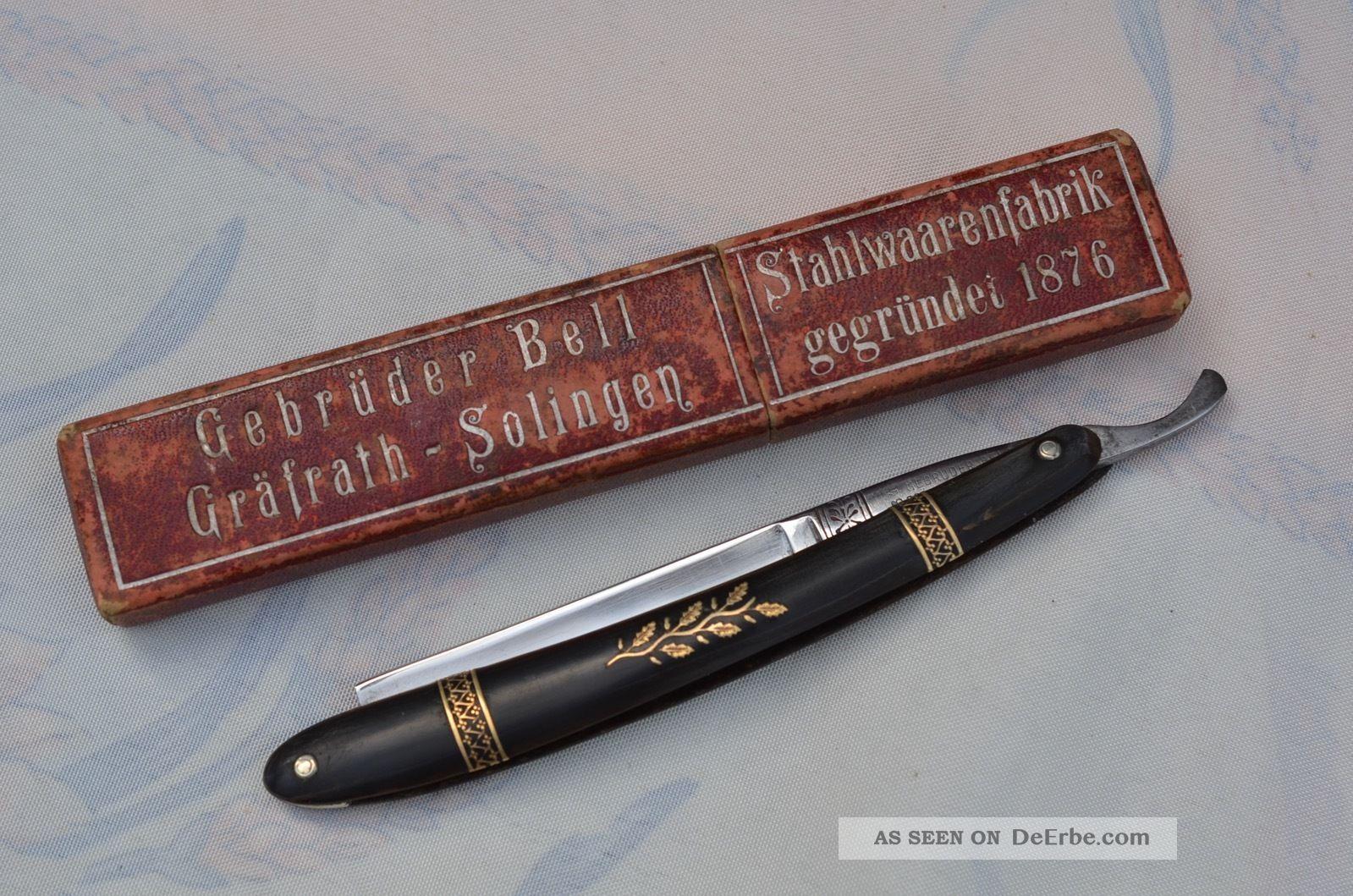 Altes Antikes Gebrüder Bell Gräfharth - Solingen Rasiermesser Sammlerstück Frisör & Barbier Bild