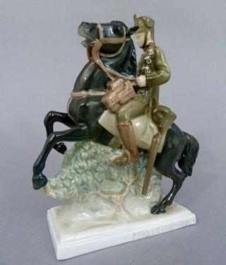 Seltene Rosenthal Figur,  Husar Zu Pferde,  Entwurf Ferdinand Liebermann,  1914 Bild