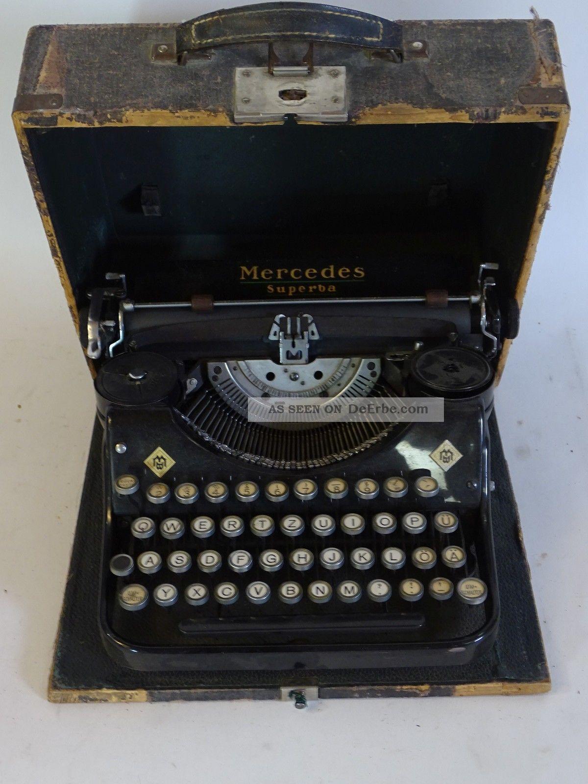Antike Mercedes Superba Schreibmaschine Im Koffer Antike Bürotechnik Bild