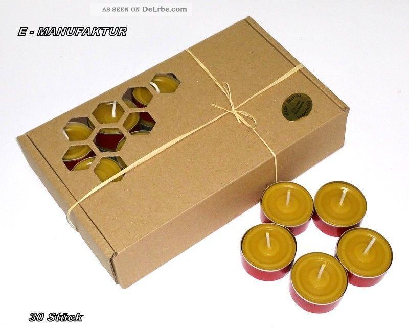 30 X Teelichter Aus 100 Bienenwachs In Roten Aluschalen Mit Muster,  Brenndauer Religiöse Volkskunst Bild