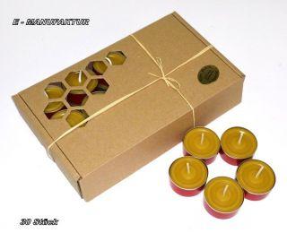 30 X Teelichter Aus 100 Bienenwachs In Roten Aluschalen Mit Muster,  Brenndauer Bild